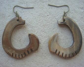 Bone Earrings - Boho Earrings - Rustic Earrings - Brown Earrings - Tribal Earrings - Statement Earrings - Limited Edition