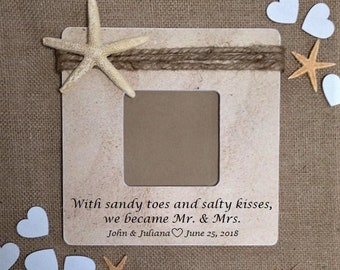 Destination wedding gift for couple bride and groom, Beach themed gifts sand frame