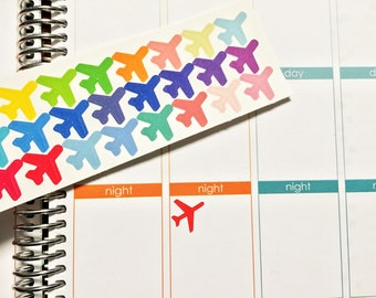 30 Colorful Airplane Stickers! CUSTOMIZATION Perfect for your Erin Condren Life Planner, Filofax, Plum Paper & other planner or scrapbooking