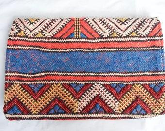 Bohemian Tribal Textile Morrocan Leather Antique Kilim Carpet Clutch Handbag Boho Purse