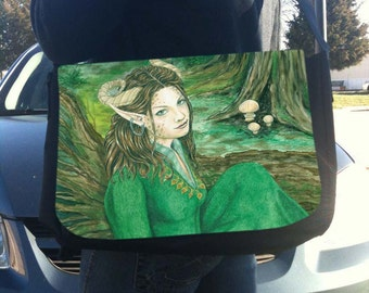 Lady of the Forest Art Messenger Bag With Changeable Hand Pressed Flap