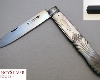 Superb 19th-century (1863) VICTORIAN Solid Sterling Silver Mother of Pearl MOP English Antique Folding Pocket Fruit Pen Knife Penknife