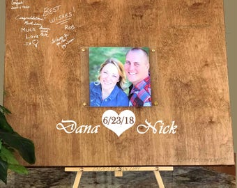 Guest Book Alternative with Photo, Rustic Wedding Guestbook, Custom Guest Book, Personalized Wood  Guest Book, Alternate Guest Book