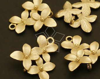 AC-423-MG / 2 Pcs - Cherry Blossom Connector, Matte Gold Plated over Brass / 14mm x 15mm