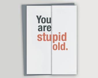 Stupid Old - Funny Birthday Card