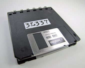 3L337 or ELEET in Computer Lingo Floppy Disk Recycled Blank Mini Notebook in Black