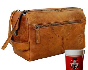 Neccessaire – Toiletry bag BOONE made of brown Rodeo-leather - BARON of MALTZAHN