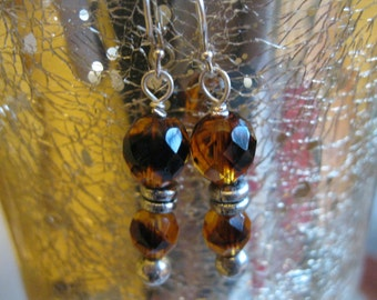 Beautiful Faceted Amber Crystal Earrings ~ Silver Pierced Earwires ~ Silver Beads