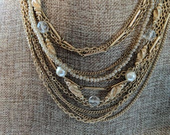 Vintage Kramer Gold Tone with Faux Pearls and Glass Beads