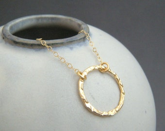 """small gold ring necklace. textured open circle. 14k gold filled. 14 k simple everyday jewelry. dainty delicate pendant gift for her 5/8"""""""