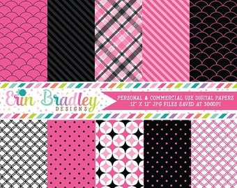 80% OFF SALE Digital Scrapbook Papers Personal and Commercial Use Fuchsia Pink and Black Medley