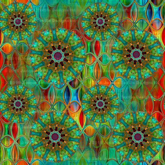 Handmade Velvet Upholstery Fabric Kaleidoscope Green Blue Red Shimmer Fiber Art Fabric