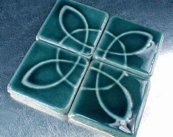Blue 2 x 2 accent tiles, kitchen backsplash accent tiles, blue tiles, handmade 2 x 2 ceramic tiles, art tiles, 4 x 4 art tiles