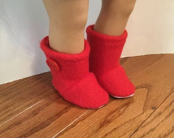 """Fleece Booties for 18 Inch Dolls. Bright Red Fleece with Button Trim. 18"""" Doll Clothes."""