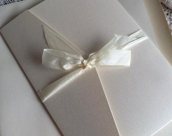 Vintage Lace & Sheet Music Pocketfold Wedding Invitation SAMPLE Handmade by avintageobsession on etsy