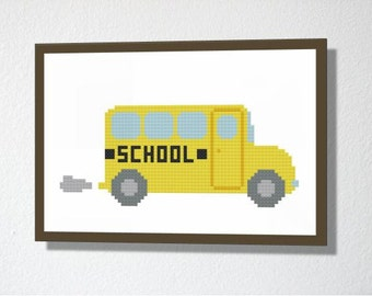 Counted Cross stitch Pattern PDF. Instant download. School Bus. Includes easy beginner instructions
