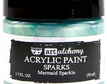 Finnabair Art Alchemy SPARKS Prima Acrylic Paint 1.7 oz  MERMAID SPARKLE #964085