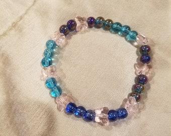 Butterfly beaded glass bracelet
