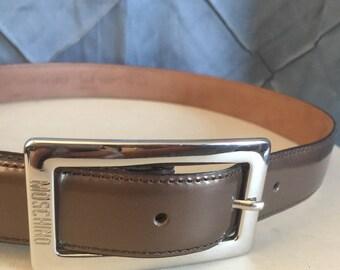 Moschino Bronze patent leather belt