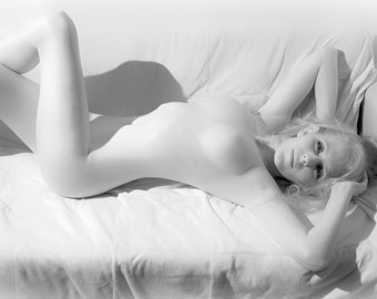 Artistic nude high key bw female blonde model in infrared fine art photo print wall art home decor - Silver Softness - 08