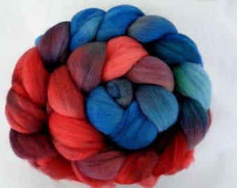 Merino wool roving, hand dyed roving, felting wool, spinning fiber, needle felting wool, merino wool tops, red, blue, 3.5oz, 100g, 100% wool