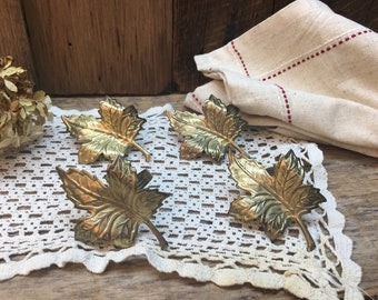 Brass Leaf Napkin Rings/Set of Four/Fall