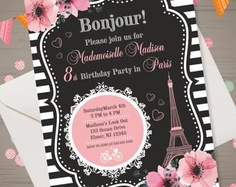 Paris Invitation Paris Birthday Party Eiffel Tower Invitation Paris Invite Eiffel Tower Invite French Party Invitation oh la la invitation