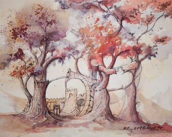Watercolor of a surreal and fantasy landscape