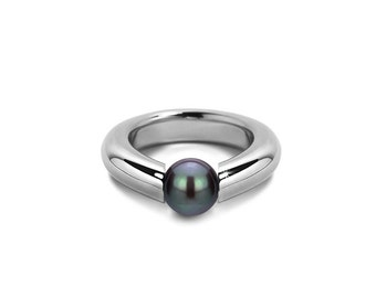 Black Pearl Ring  Stainless Steel Tension Set