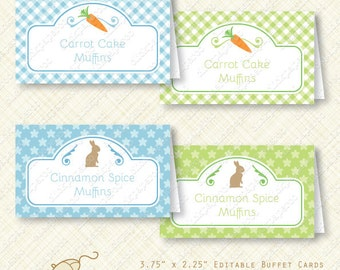 Blue Happy Easter Party Buffet Card Printable Tent editable text instant download chocolate bunny carrot place card gingham treat diy pdf