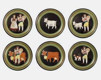 Swiss Burkart Set 6 Artistic Ceramic Pottery Plates Farm Traditional Costume Animals - circa 1970's, Switzerland