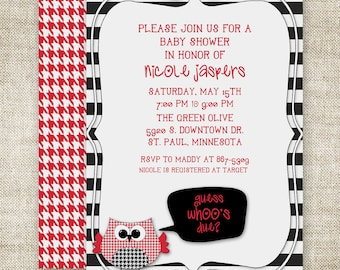 OWL BABY SHOWER Invitations Guess Who's Due Gender Neutral Digital Printable Personalized Red - 89905794