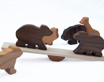 Animal Seesaw Wood Toy // Classic Wooden Animals Balancing Game // Select 3 Pairs from Elephant, Giraffe, Bear, Lion, Hippo, Bunny Shapes