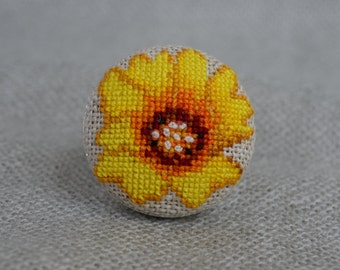 Flower cross stitch ring, Embroidered jewelry, Yellow flower, Handmade ring, Yellow ring, Flower jewelry, Unique nature ring, Gift for Her