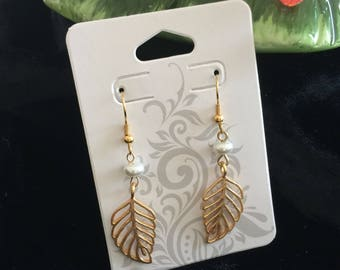Gold and faux mother of pearl drop earrings