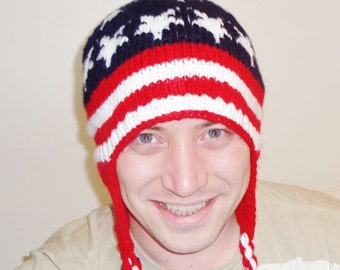 Winter hats for men's hats with ear flaps hand knit American Flag gift for man, fast shipping, red, white, blue