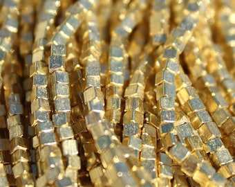 Gold Plated Metal Beads, Cubes from India - M-019