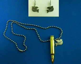 Fighting for Peace, A Dichotomy, M16 Bullet and Peace Dove Charm on Ball Chain, War and Peace, Bullet Jewelry, Pendant and Earrings Set
