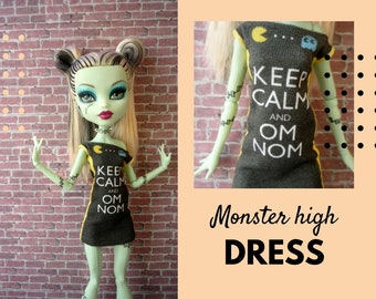 Monster High doll printed dress. Monster doll clothing