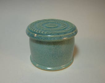 French Butter Keeper Butter Crock Butter Dish Server Blue-Green - Handmade Pottery