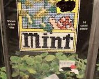 "NMI Plant Poke ""Mint"" Counted Cross Stitch Kit"