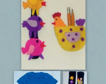 Applique Hen & Chicks Patterns to Attach to Clothes + Solution to Protect Appliques and to Attach Socks to Each Other in Laundry