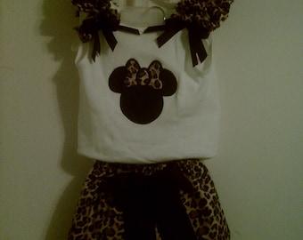 Cheetah  Minnie Mouse short set - sizes 12 mo thru 6t