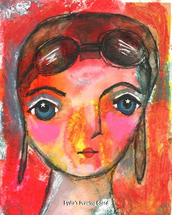 Aviator, Amelia, Amelia Earhart, Girl Power, Mixed Media, Mixed Media Art, Starry Eyed, Aviation, Aviation Art, Girl Art, Girls Room Decor