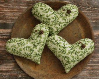 Primitive Heart Bowl Fillers ~ Farmhouse Leafy Green Fabric Americana Ornies