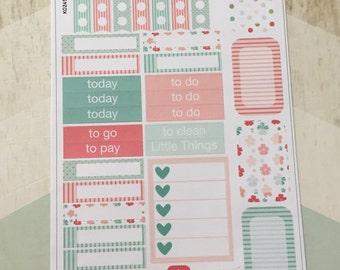 Mint and Coral Floral Sampler Sticker Sheet - S006