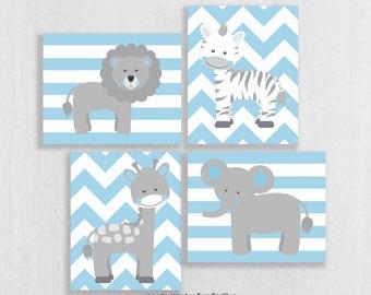 Baby Boy Nursery Art Prints Set of 4 - Jungle Nursery Art - Baby Safari Animals - Light Blue and Grey Nursery Decor - Safari Nursery Girl