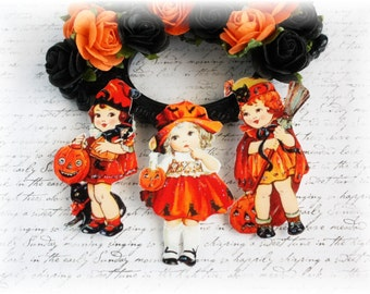 Vintage Halloween Darling Die Cut Embellishments for Scrapbooking, Cardmaking, Mixed Media, Altered Art