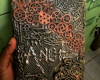 personalized notebook, customized journal, steampunk inspired notebook cover