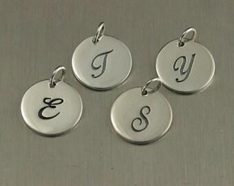 Sterling Silver Cursive Letter Disk--Circle Charm--Initial Pendant--Alphabet Charm--Fancy Letter--Calligraphy Charm--Name Pendant
